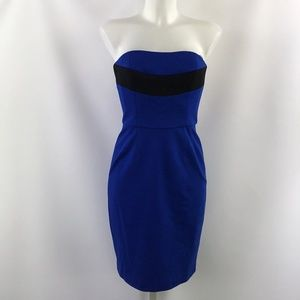 Trina Turk Blue & Black Strapless Dress Size 2